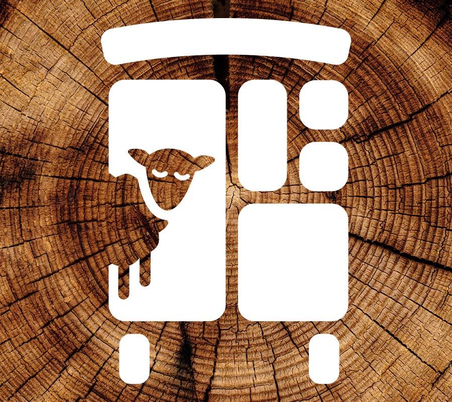 Bildmarke auf Holzstamm